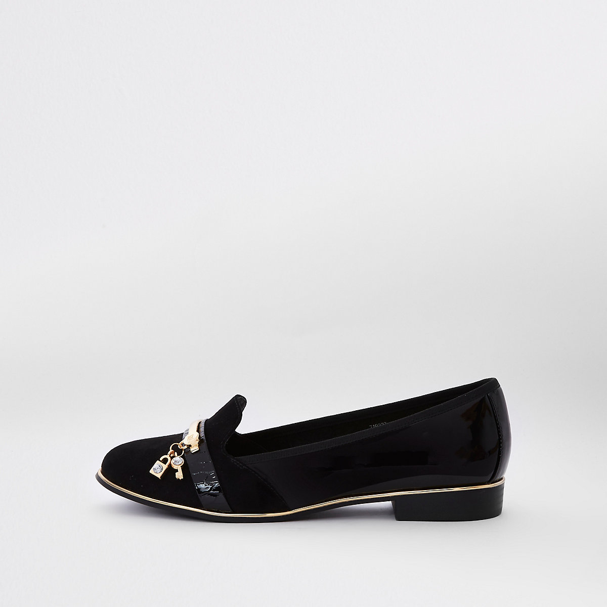 Black wide fit lock and key loafers