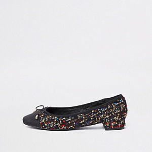 Black broderie bow ballerina pumps