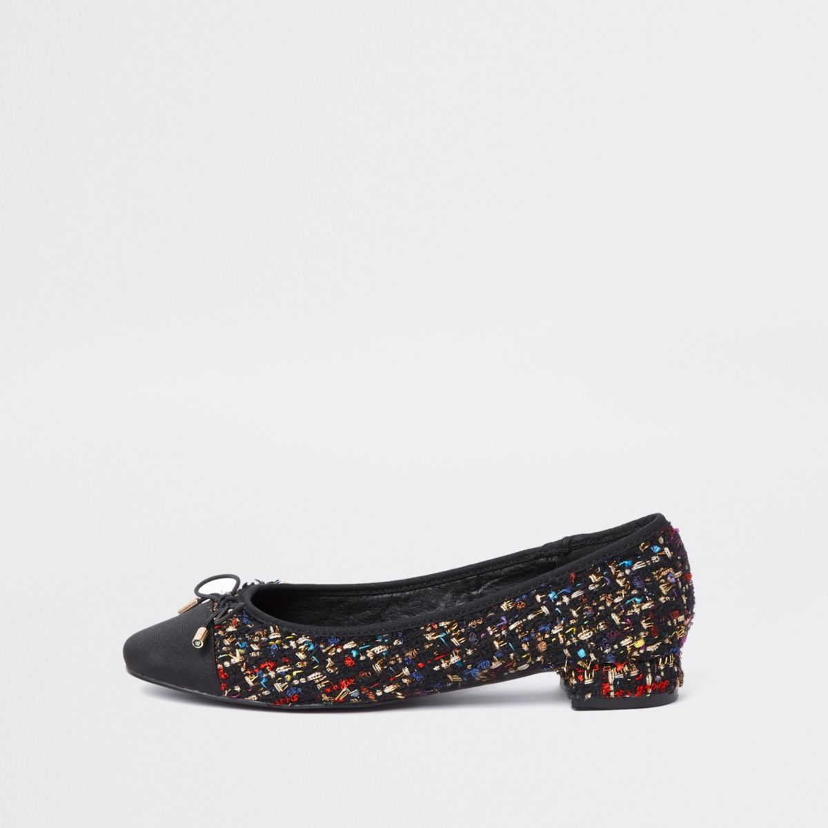 Black broderie bow ballet flats