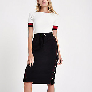 Black popper velvet side pencil skirt