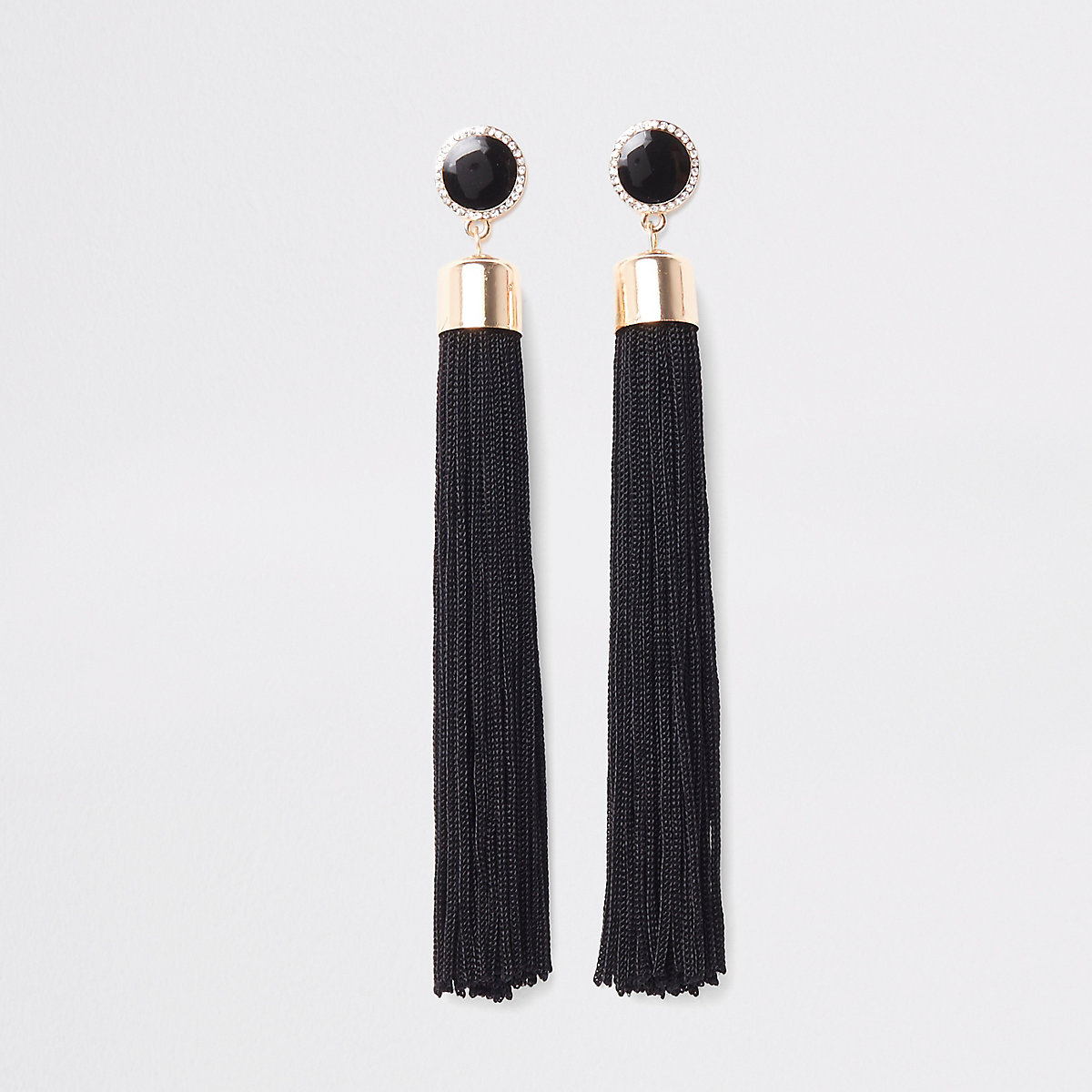 Black tassel drop stud earrings