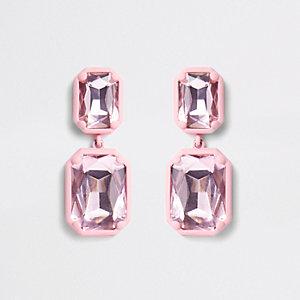 Roze gecoate rechthoekige oorhangers met steen