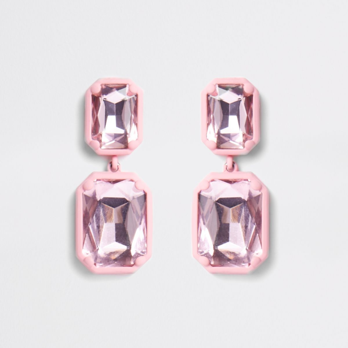 Pink coated rectangle crystal drop earrings