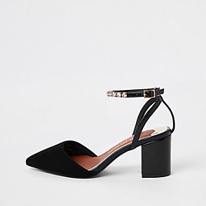 Black wide fit rhinestone two part shoes