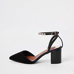 Chaussures noires à strass en deux parties coupe large