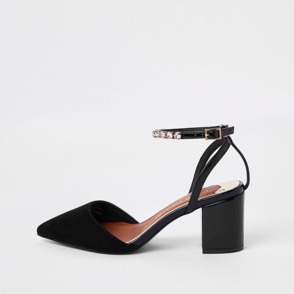 Black wide fit diamante two part shoes