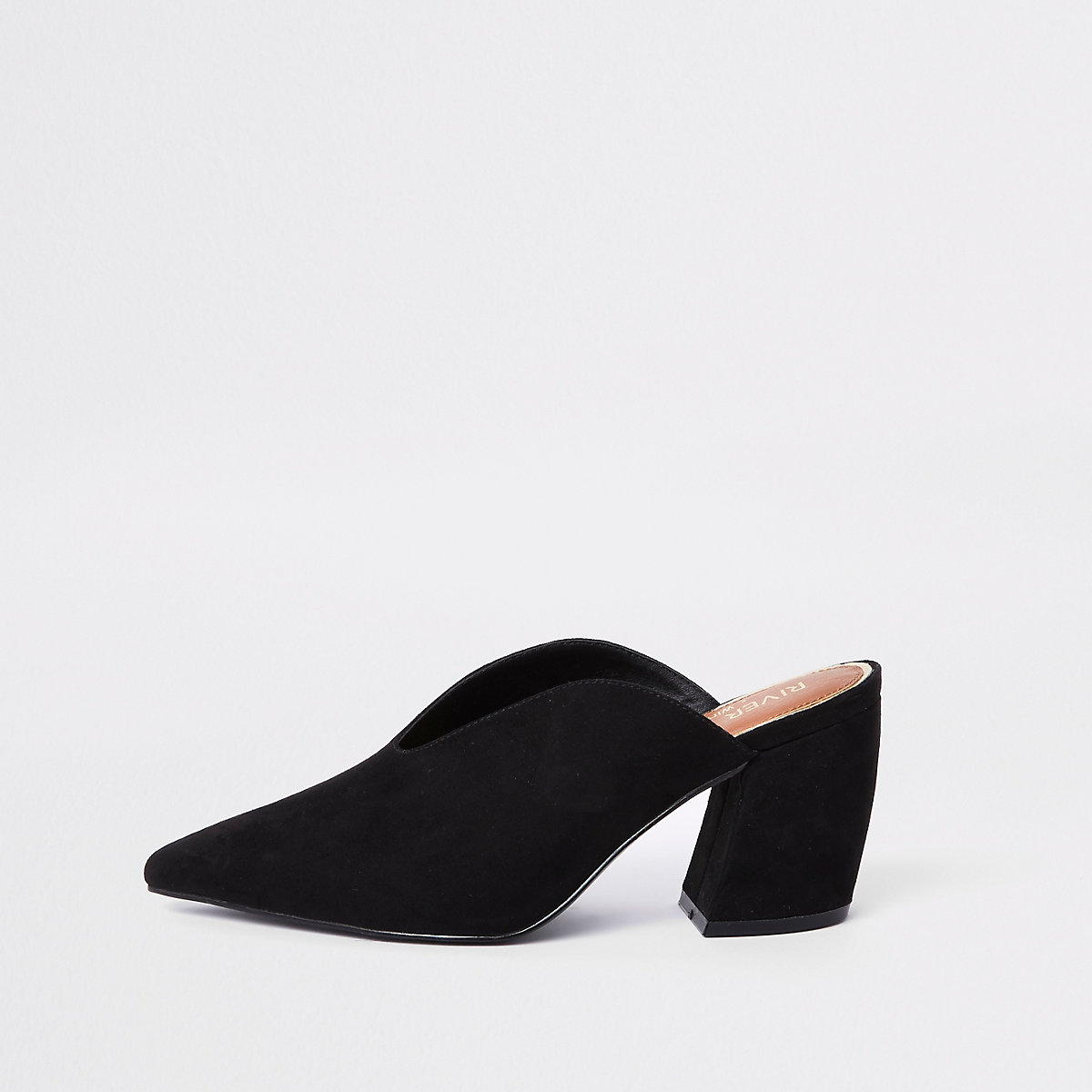 Black wide fit curve heel mules