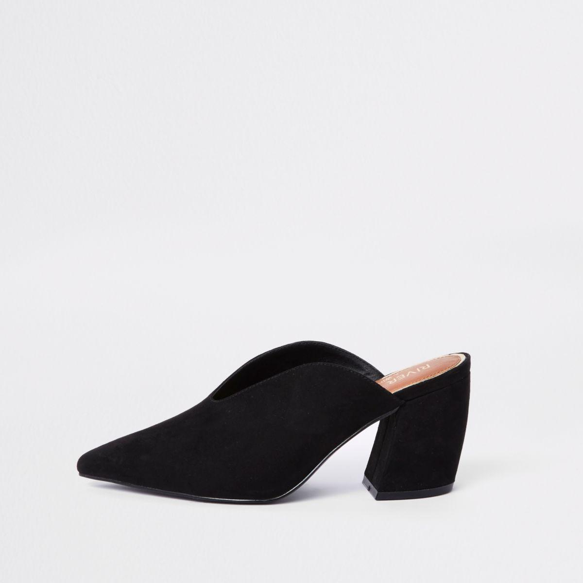 Black wide fit curve heel mules