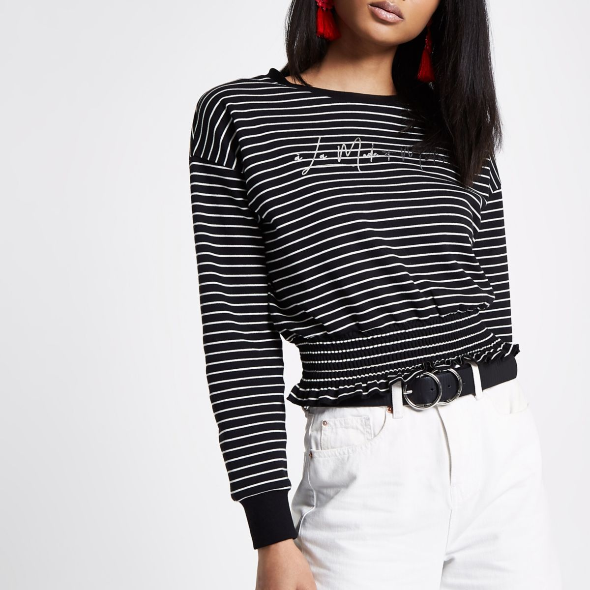 Black stripe 'la moderne' cropped sweater