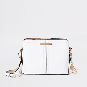 White open top triple compartment bag