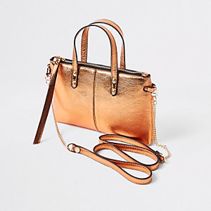 Orange metallic leather cross body bag