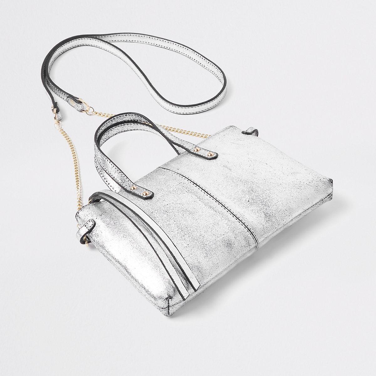 Silver metallic leather cross body mini bag
