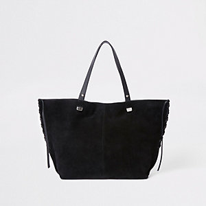 Black suede leather tote bag