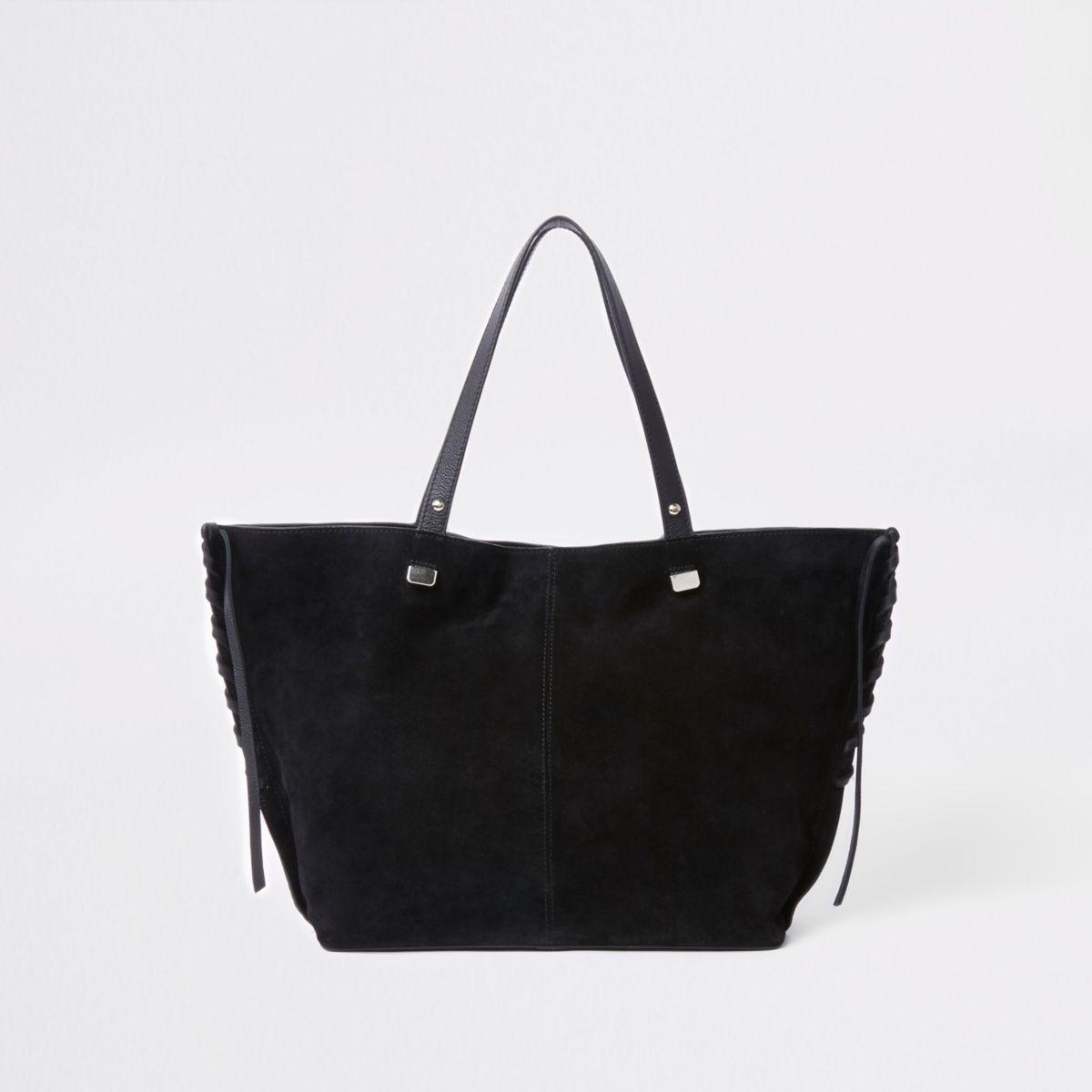 Zwarte leren handtas