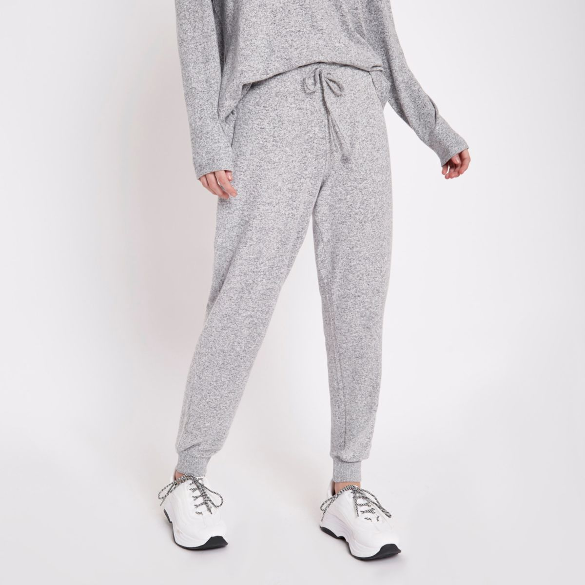 Grey jersey skinny fit joggers