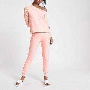 Pantalon de jogging skinny rose en jersey