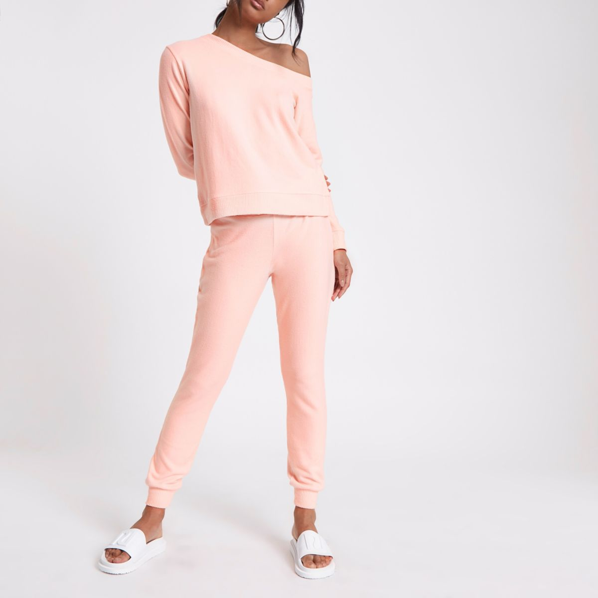 Pink jersey skinny fit joggers