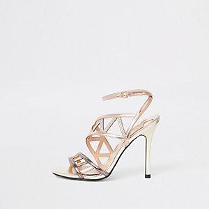 Rosé goudkleurige sandalen met bandjes