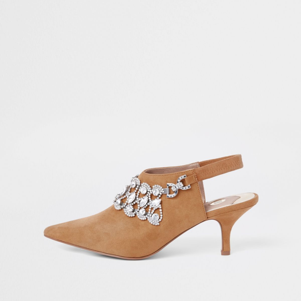 Light brown jewel embellished pointed mules