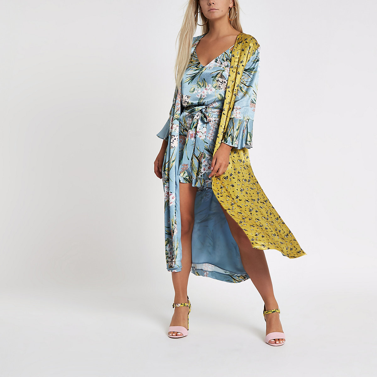 Petite blue mixed floral print duster jacket