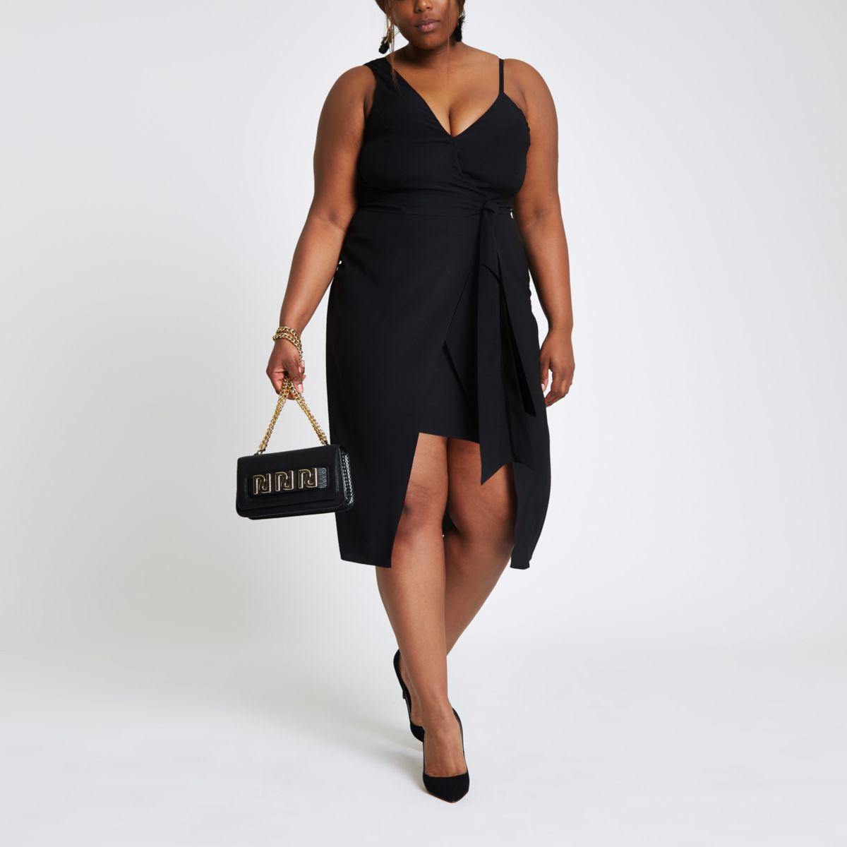 Plus black one shoulder midi dress