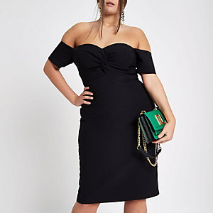 Plus black twist front bardot dress
