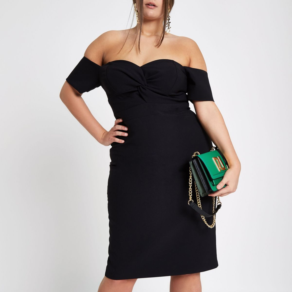 Plus black twist front bardot dress