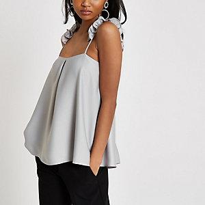 Light grey frill strap cami top
