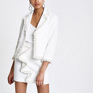 White boucle faux pearl trim blazer