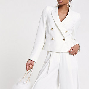 White crop double breasted tux blazer