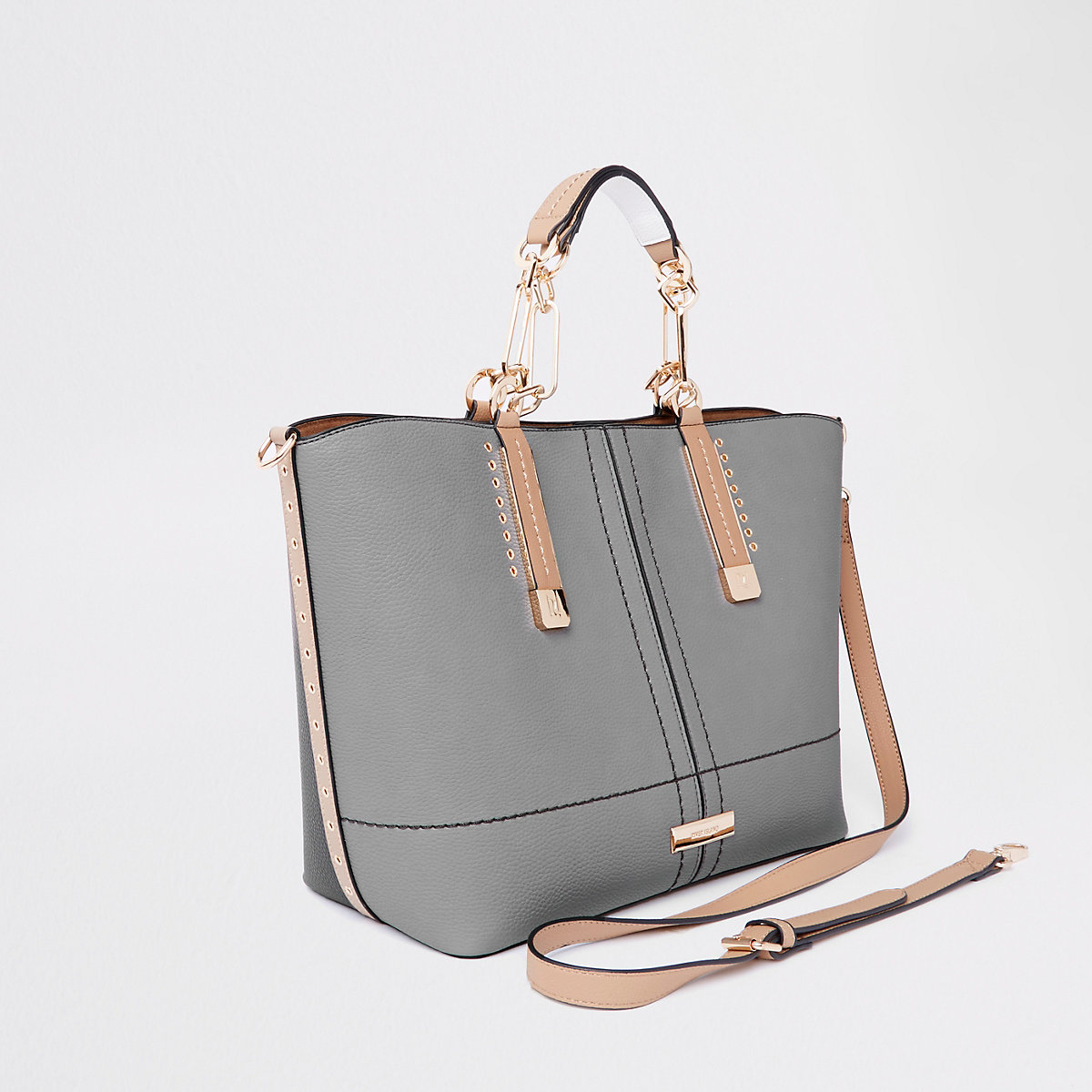 Grey winged contrast tote bag