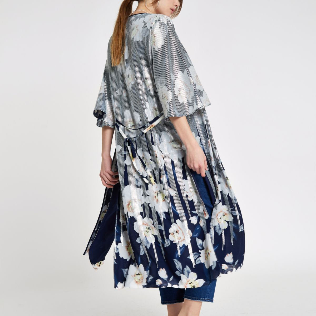 Navy floral sequin duster jacket