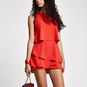 Red tiered frill playsuit