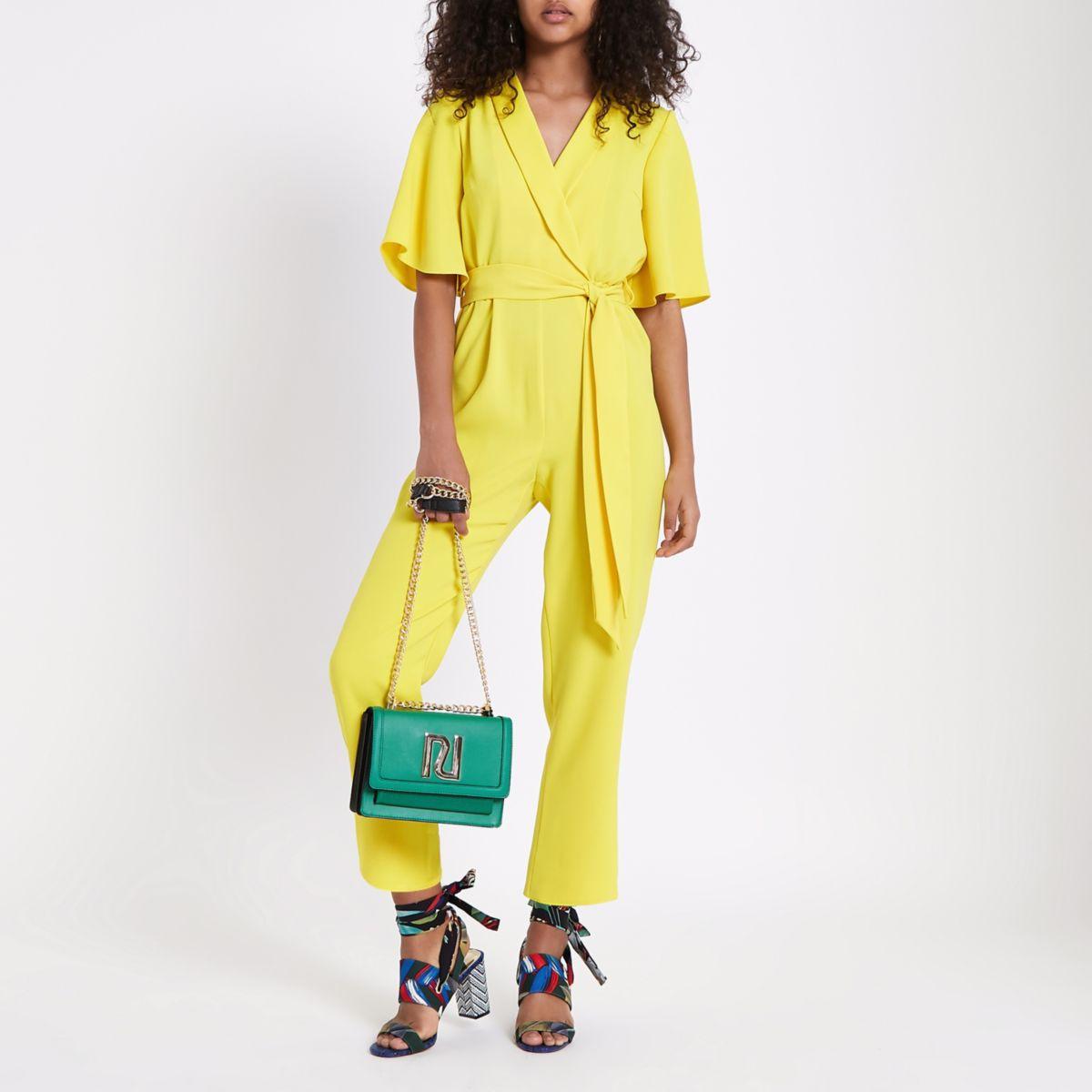 Bright yellow tie waist jumpsuit