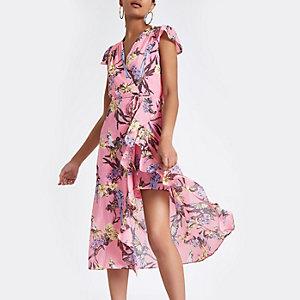 Pink floral frill split hem maxi dress