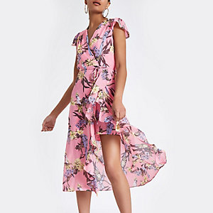 Pink floral frill split hem maxi dress