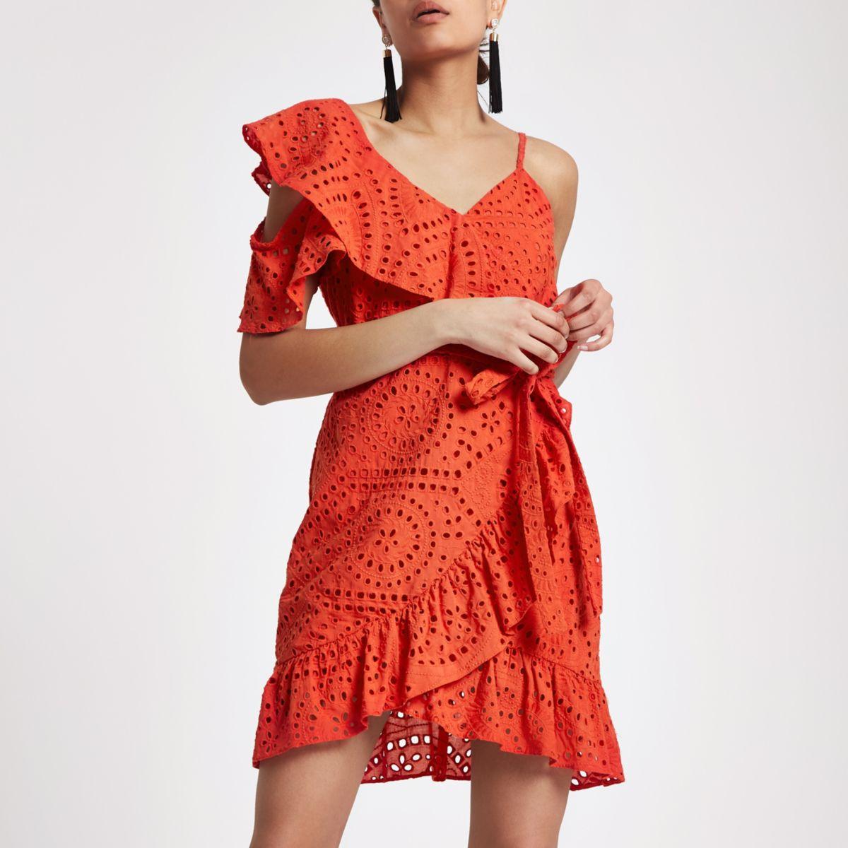 Orange broderie cold shoulder dress