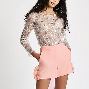 Peach diamante pearl embellished frill shorts