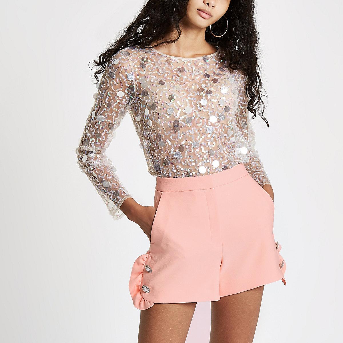 Peach rhinestone pearl embellished frill shorts