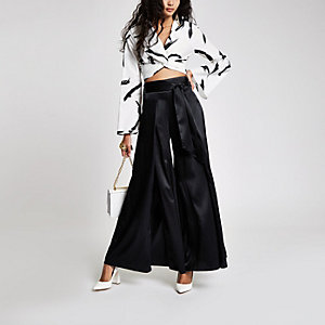 Black wide split leg tie waist trousers