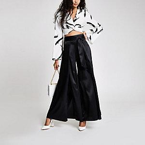 Black wide split leg tie waist trousers