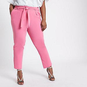 Plus – Pantalon rose fuselé noué à la taille
