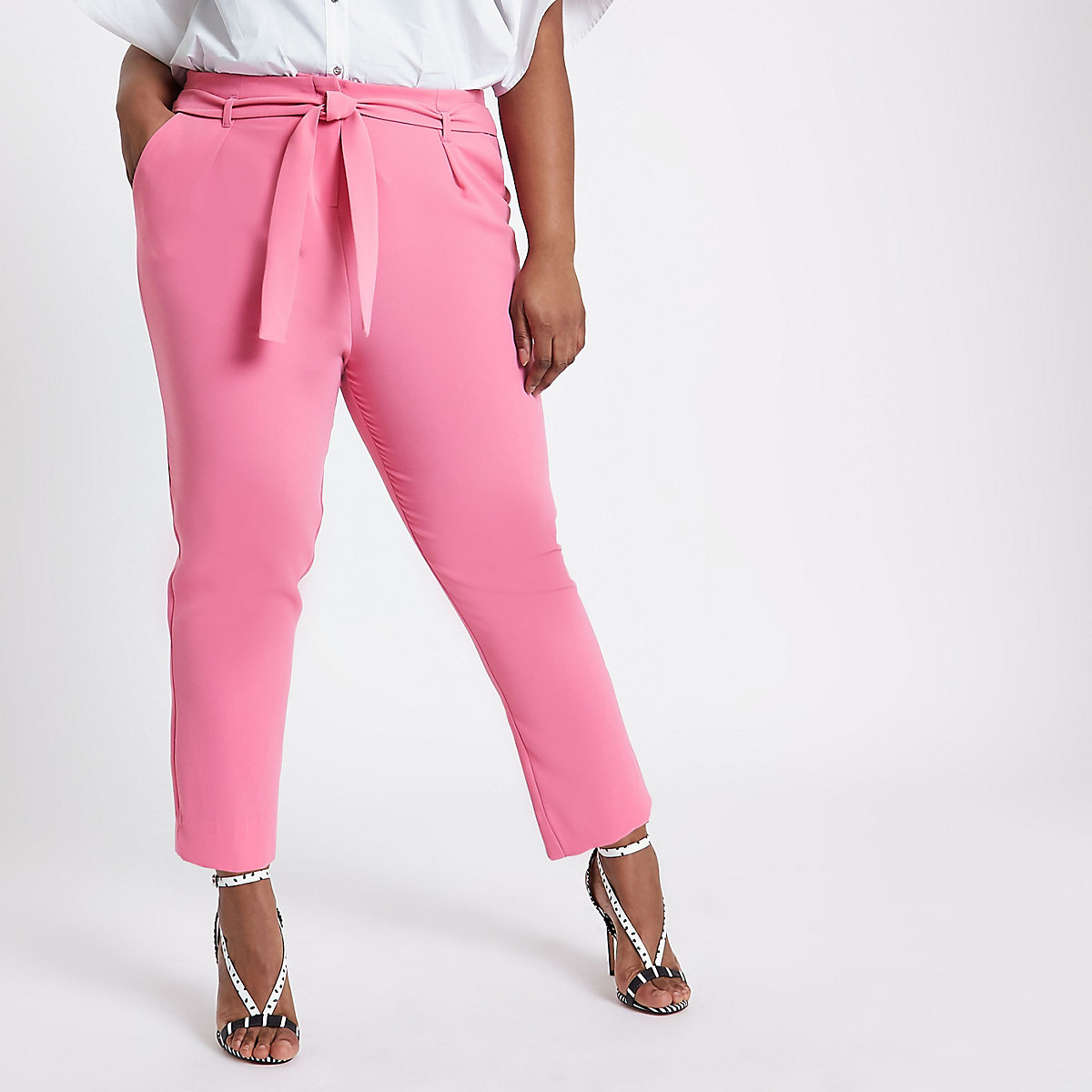 Plus pink tie waist tapered pants