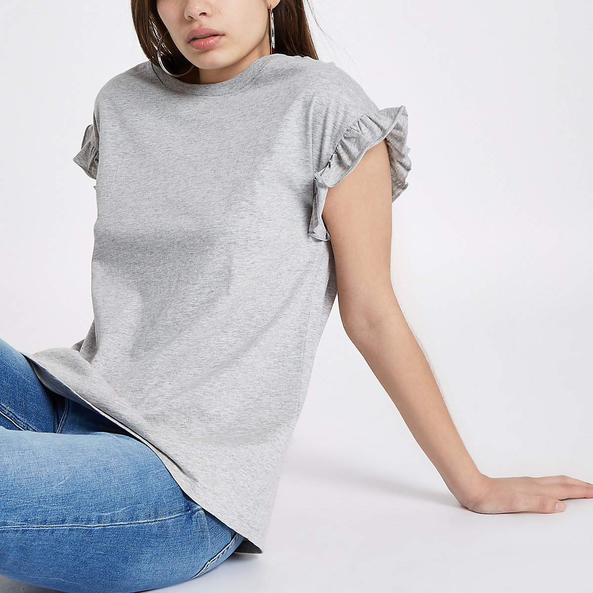 Grey crew neck frill sleeve T-shirt