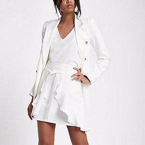 White frill wrap tie front mini skirt