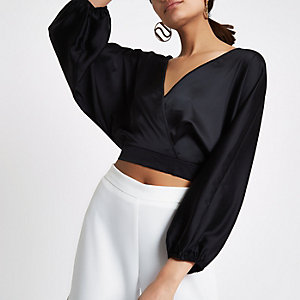 Black wrap front balloon sleeve crop top
