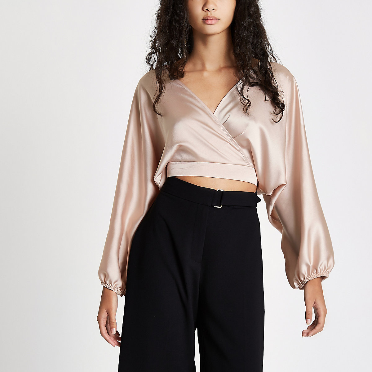 Light pink wrap front balloon sleeve crop top