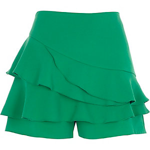 Green tiered frill shorts