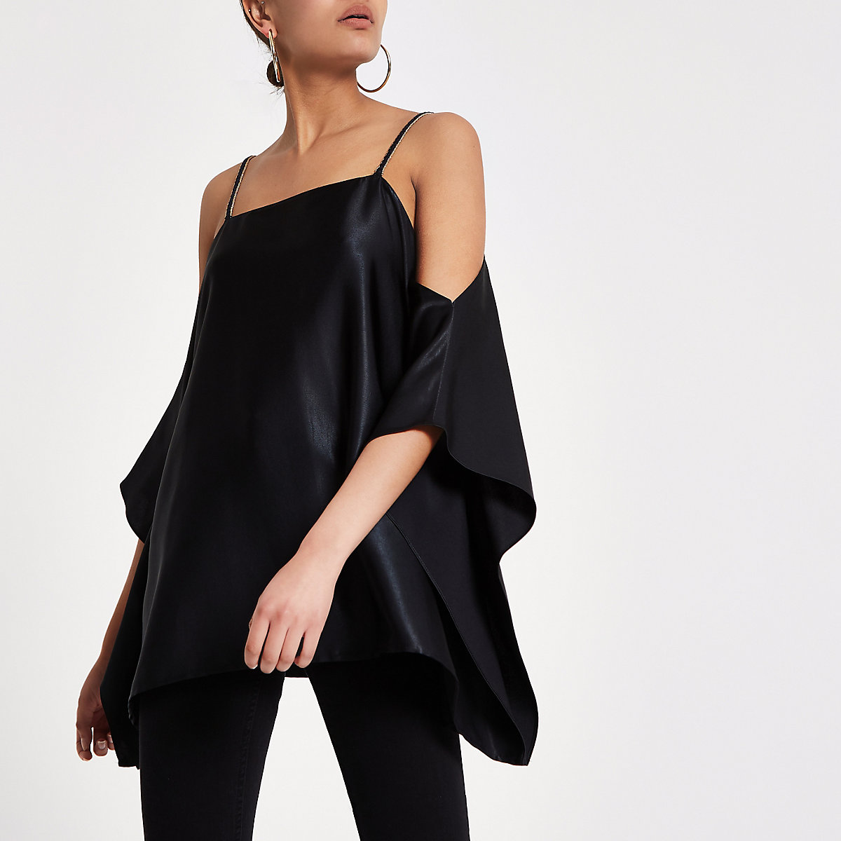 Black satin cold shoulder cami top