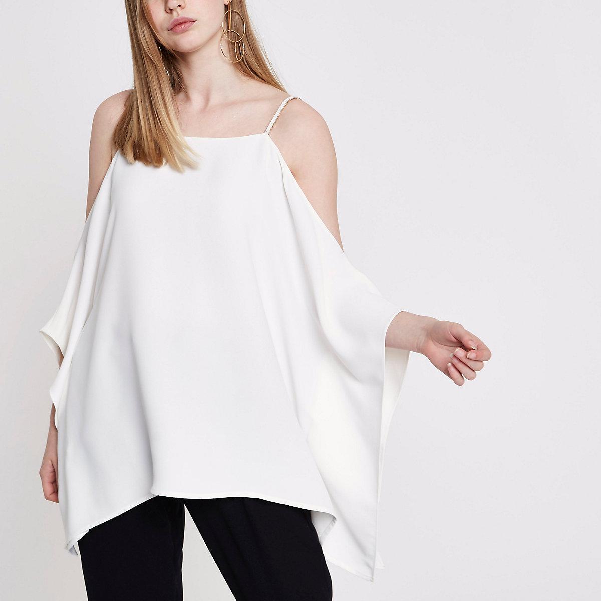 Cream cold shoulder cami top